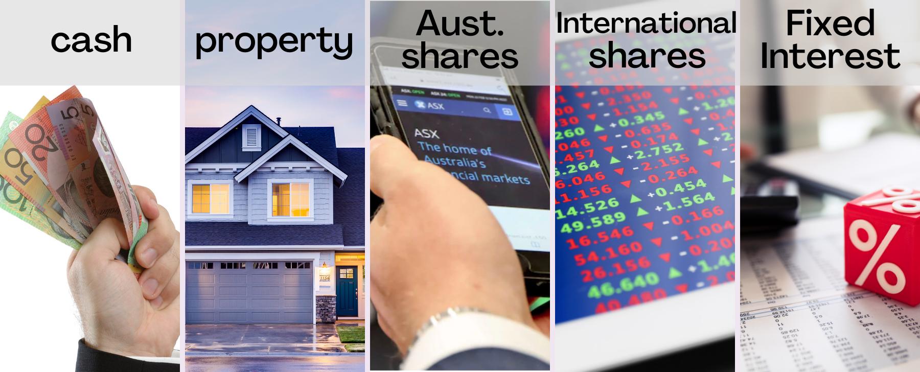 5 asset classes cash, australian shares. international shares. property, fixed interest