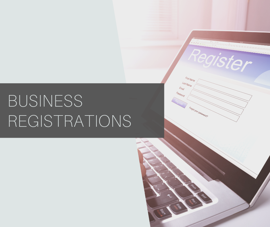 """Banner """"Business Registrations"""" - Left side of the image has a background in grey and the right side comprises a laptop."""