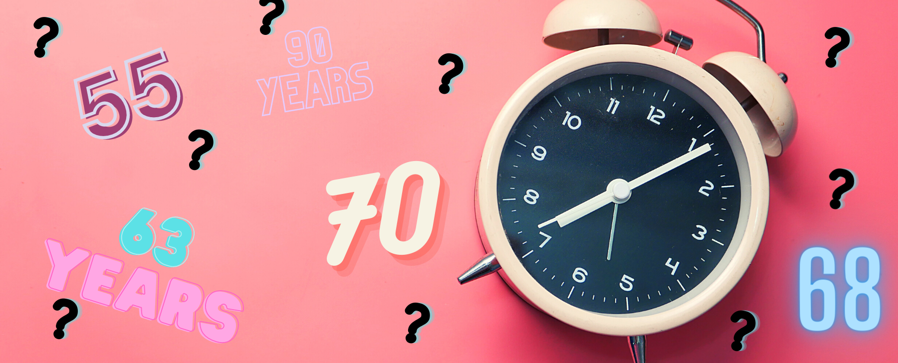 an alarm clockon a pink background with numbers and question marks around it. RETIREMENT PLANNING