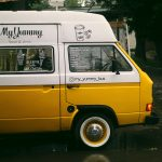 small business owner yellow and white coffee van. Instant asset tax write off. business start up