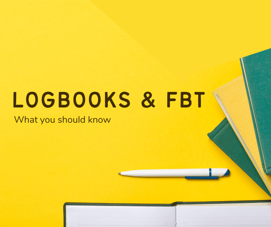 """Banner """"Logbooks & FBT What you should know"""" with a background in yellow"""