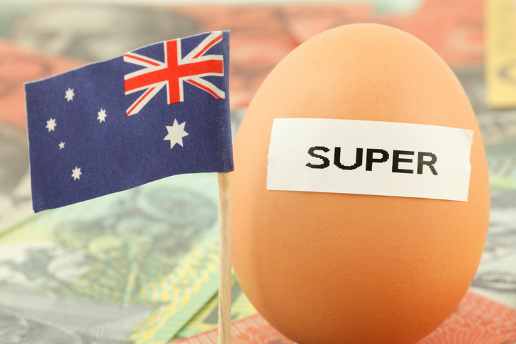 The image comprises the Australia's flag and an egg.