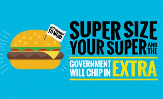 superannuation co-contributions a cartoon hamburger with a tag saying super size your super
