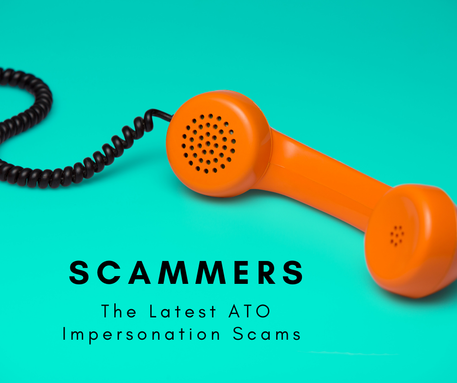 ATO impersonation scams orange phone receiver on a green background