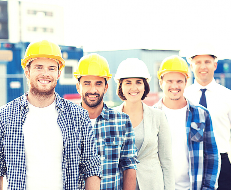 contractors with hard hats