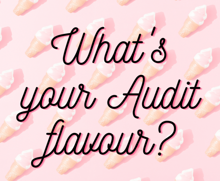 images of ice cream cones on a pink background with what is your audit flavour written over the top of the image