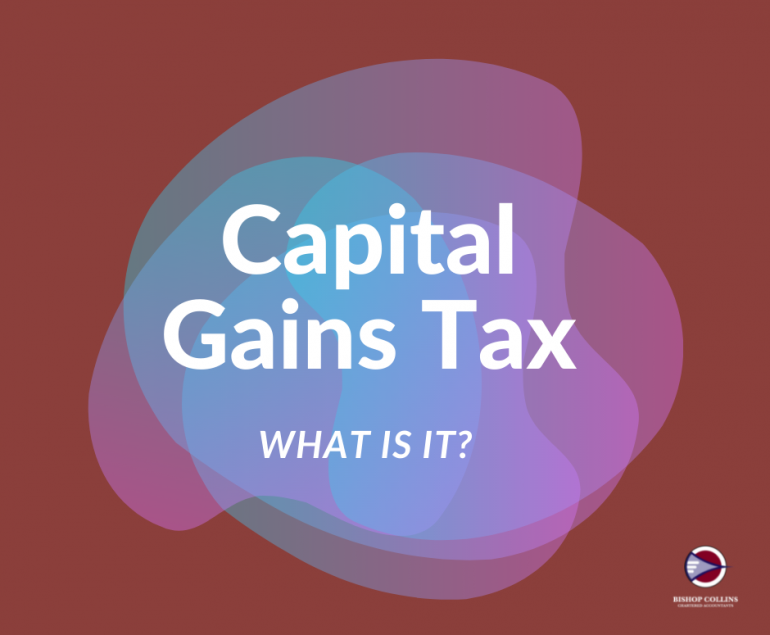 """Banner """"What is capital gains tax"""" - Bishop Collins Accountants"""