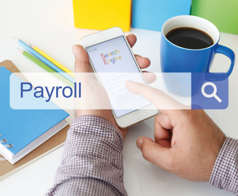 """Man with a Phone on his hands with a search box written """"Payroll"""" ahead"""
