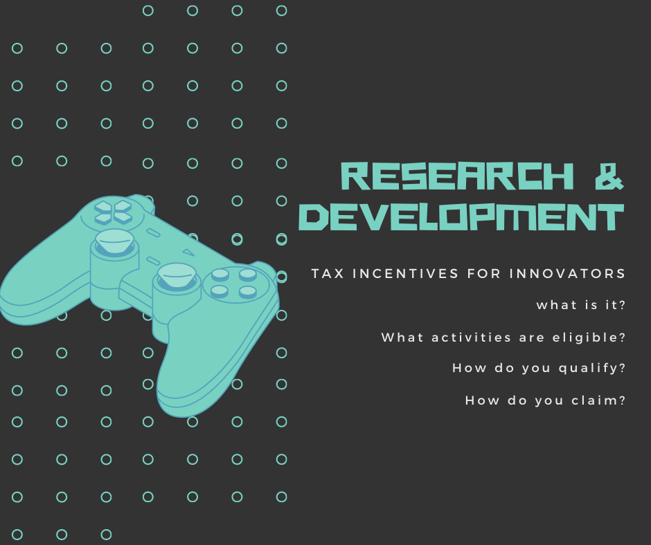 """Banner """"Research & Development tax incentives for innovators"""" with a blue joystick on the left"""